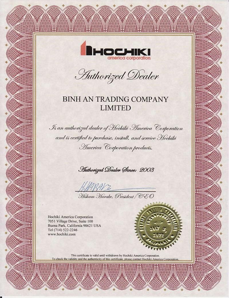 Hochiki America trao Chứng Nhận Ủy Quyền cho Công ty TNHH Thương Mại Bình An từ năm 2003