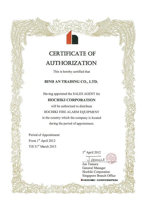 Hochiki Asia trao Chứng Nhận Ủy Quyền cho Công ty TNHH Thương Mại Bình An năm 2012 – 2013