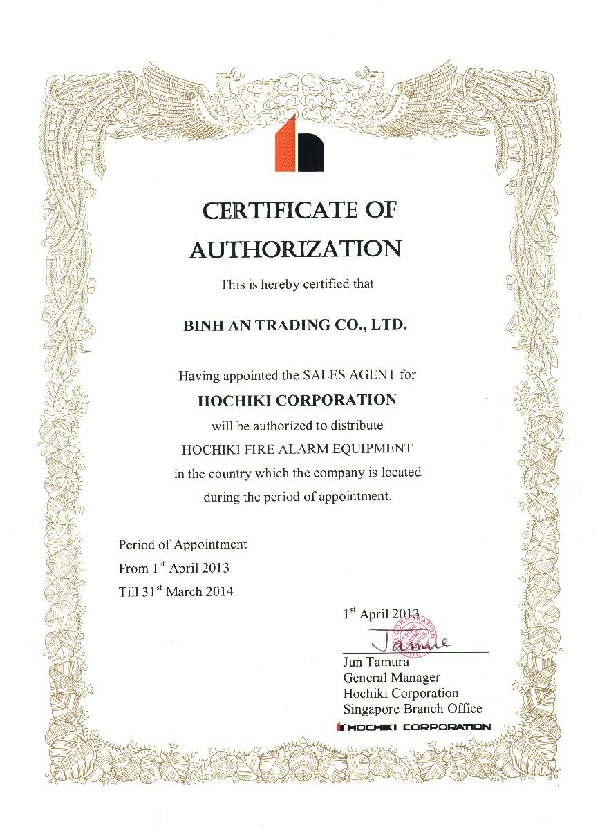 Hochiki Asia trao Chứng Nhận Ủy Quyền cho Công ty TNHH Thương Mại Bình An năm 2013 – 2014