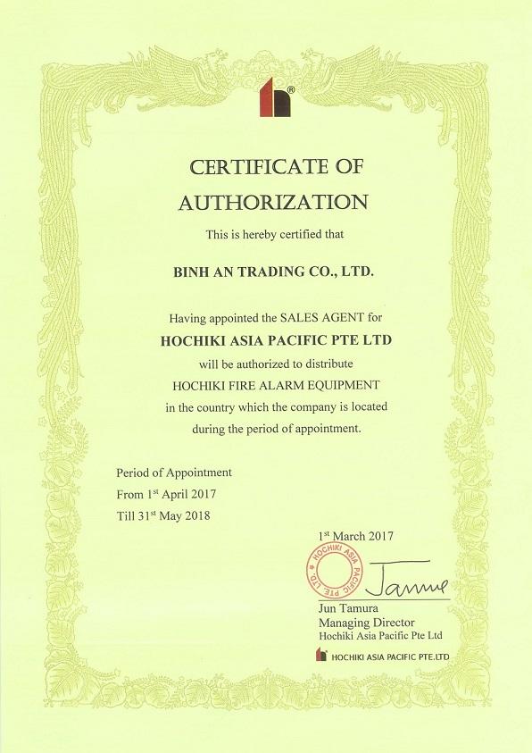 ochiki Asia trao Chứng Nhận Ủy Quyền cho Công ty TNHH Thương Mại Bình An năm 2017 – 2018