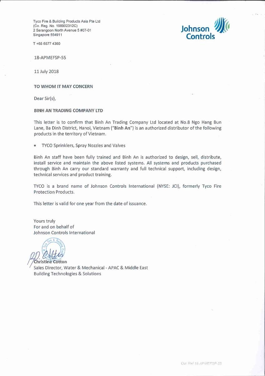 Chứng nhận đại lý chính thức Tyco của TNHH Thương Mại Bình An năm 2018